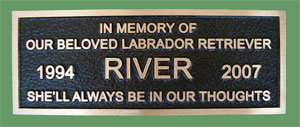 8 inch x 4 inch Cast Bronze Plaque, Single Line Border, Dark Oxide Pebbled Background