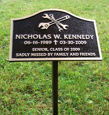 9 inch x 6 inch Cast Bronze Plaque With A 24 inch Stake Welded