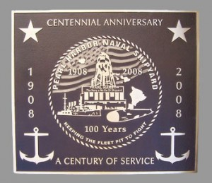 24 inch x 24 inch Cast Bronze, Custom Design Flat Relief Graphics, Single Line Border, Dark Brown Pe